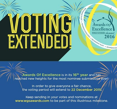 World Gourmet Summit Awards Of Excellence 2016 Voting Period Has Been Extended!