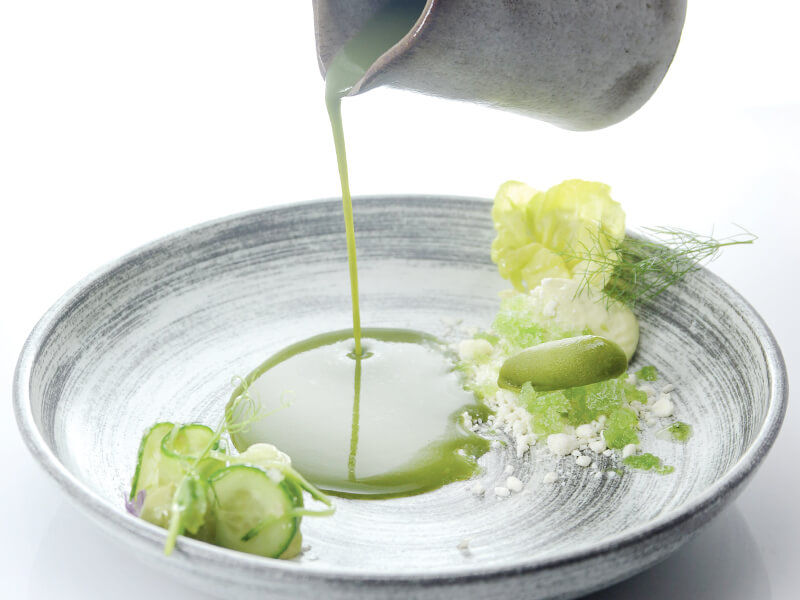 chilled cucumber soup with avocado foam & buttermilk snow