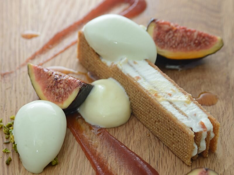 U.S parmesan-riccotta mille feuille with caramelised fig