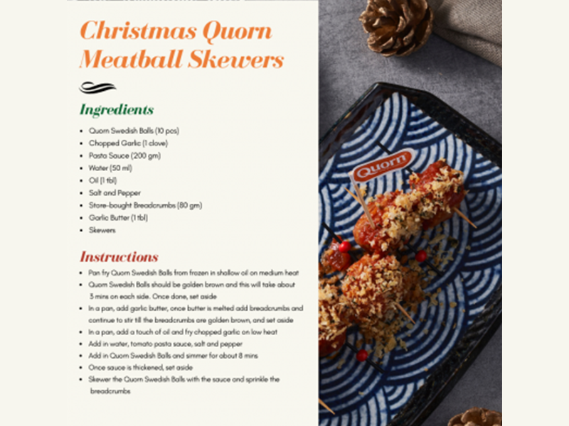 Christmas Quorn Meatball Skewers